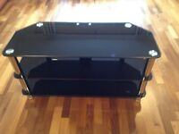 Glass TV stand - black and silver