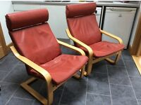 2 Leather Poang Chairs - Ikea Poang Chairs with Red Leather Cushions. V.G.C.