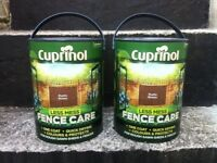 FENCE TIMBER WOOD STAIN PAINT -- COLOUR BROWN -- NEVER OPENED -- TWO 5 LITRE TINS