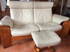 Ekornes 2 seater sofa, chair and footstool, cream coloured, bought from Hunters, Ayr.