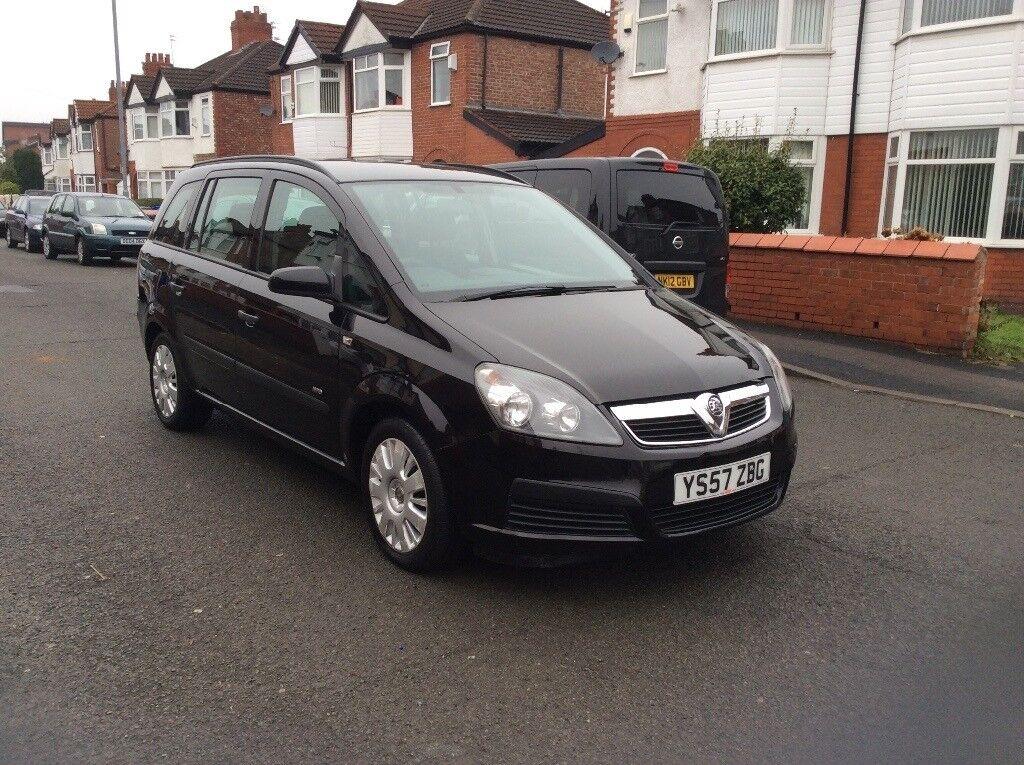 2008 Vauxhall Zafira 16 5dr Estate Petrol Manual 7 Seater Black