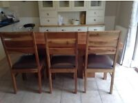 Solid acacia wood ding table, chairs and matching bench