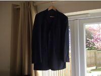 Dark Blue Pale Pin Stripe Men's 2 Piece Suit, very good condition, 40 reg jacket, waist 36 leg 33 in
