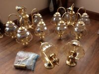 Set of 2 brass light fittings and matching pair of side lights