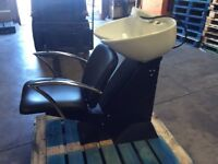 Black hair salon backwash unit with chair (never used or plumbed)