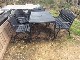 Garden table and chairs wood and cast iron heavy