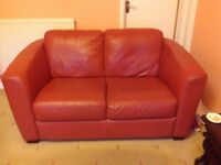 Leather 2 seater sofa in Terracotta colour
