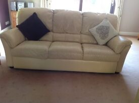 REDUCED PRICE- Cream three seater leather sofa- one of two for sale