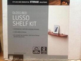 Floating red gloss shelf.