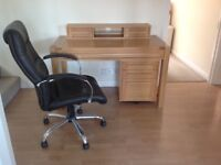 Desk, matching filing cabinet and leather office chair