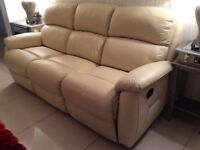 Cream leather recliner sofa and 1 recliner armchair