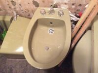 Retro Vintage acocado 4 piece bathroom suite, cast iron bath, bidet, sink, toilet and taps.