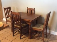 Extending Oak Dining Table with chairs