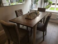 Homebird dining table with 4 Next grey chairs