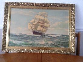 Montague Dawson print in frame