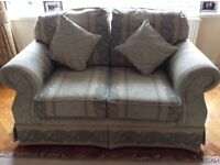 Three piece suite - 3 seater sofa, 2 seater sofa & armchair, pale green