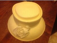 Ladies cream straw effect hat with rose on the front