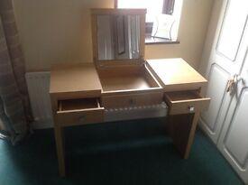 Bedroom make up desk with fold up mirror