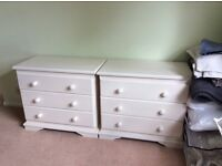 Pair of white 3 drawer bedroom chests