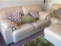 Cream leather Italian design 3 seater sofa
