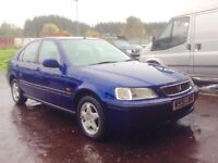 Low mileage Honda Civic 1.4 iS 5 door hatchback full year mot cheap reliable family hatchback