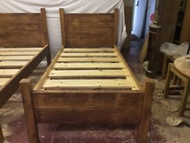 Solid wood plank style beds.
