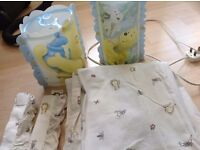 Mothercare Winnie The Pooh Light Shade + Table Lamp + Curtains + Tiebacks