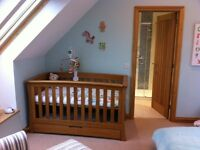 Mamas & Papas solid oak cot / cotbed and drawers/changing table from their Ocean furniture range