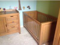 Europe baby Larissa nursery childrens furniture (cot bed, wardrobe, changer & shelf)