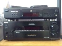 SONY remote control 5.1 stereo receiver. CD player. Mission speakers with stands. Centre speaker