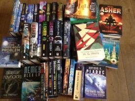 Neal Asher science fiction hardbacks & softbacks, Stephen Baxter Ark & Flood softbacks and others