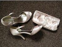 Diamanté sateen sandals size 5 + clutch