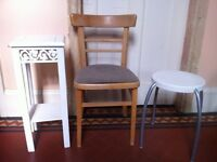 3 Vintage Items Chair Stool Seat Plant Stand or Lamp Table Kitchen Dining Up-cycling