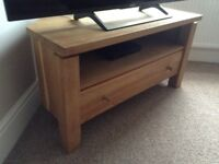 solid oak tv stand / unit very heavy