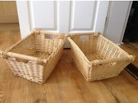 Two Vintage style wicker storage baskets with wooden handles - from smoke free home