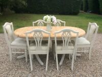 Shabby Chic Ducal Solid Pine Extending Dining Table & 6 Chairs in Farrow & Ball