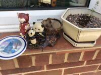 Various ceramic bits garden pot ornaments