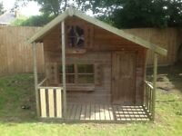 CHILDREN'S WOODEN, TWO-STOREY, USED GARDEN PLAYHOUSE 8ft x 5 ft PLUS VERANDA