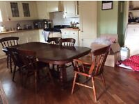 Antique dining table and six chairs