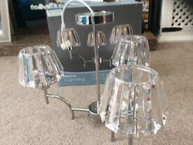 2 X Chrome finish ceiling lights with 3 acrylic shades