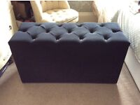Black Ottoman With Button Padded Lid
