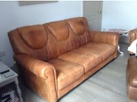 3 seater, 2 seater settees and footstool