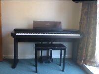 Yamaha clavinova, stool and music books.