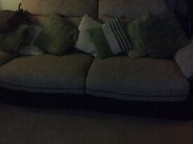 Two reclining sofas, one three seater and one four seater, excellent condition