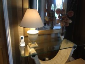 Cream and gold table lamp