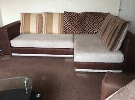 Corner sofa, armchair + footstool. Excellent condition, very clean non smoking house