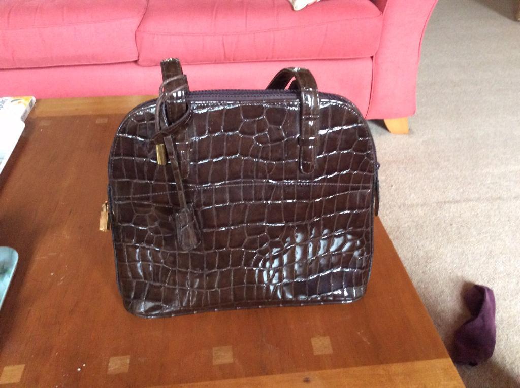 Chocolate mock croc handbag