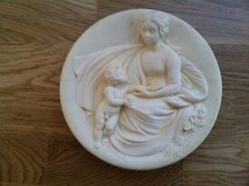 Collectable Ivory Alabaster Plate, Tender Madonna - limited edition