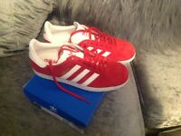 Red adidas gazelles size 6 uk