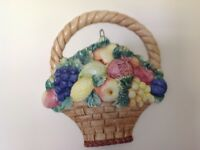 Wall plaques x 6. Italian ceramic fruit and veg. plaques. Immac. Cond.